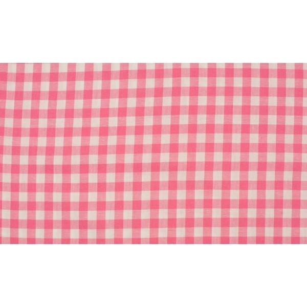 Roze wit geruite stof - 10m boerenbont stof - Katoen op rol