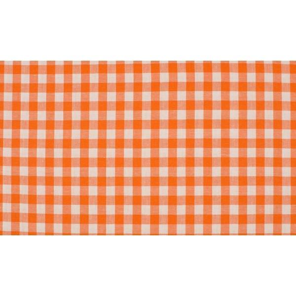Oranje wit geruite stof - 10m boerenbont stof - 100% katoen