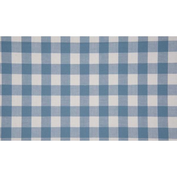 Staalblauw wit geruite stof - 10m katoen op rol - Boerenbont