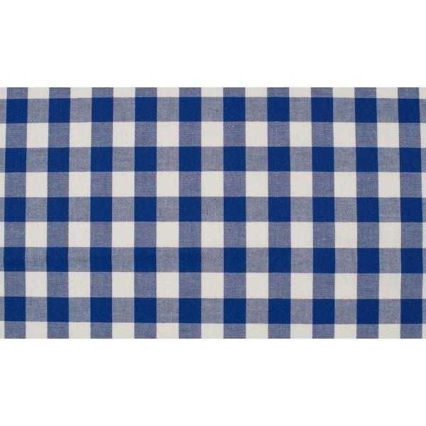 Midnachtsblauw wit geruite stof - 10m katoen op rol