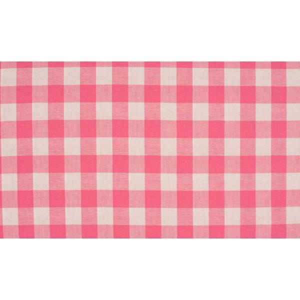Roze wit geruite stof - 10m katoen op rol - Boerenbont