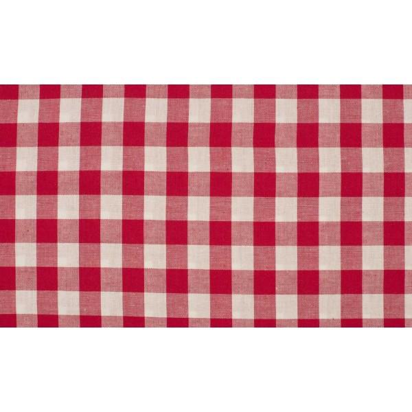 Rood wit geruite stof - 10m katoen op rol - Boerenbont