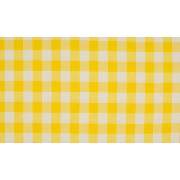 Geel wit geruite stof - 10m katoen op rol - Boerenbont