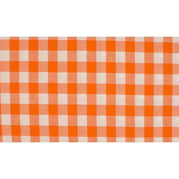 Oranje wit geruite stof - 10m katoen op rol - Boerenbont