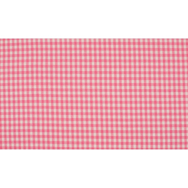 Roze wit boerenbont - 10m katoen op rol - Kleine ruit
