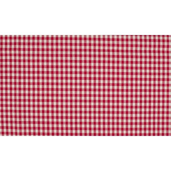 Rood wit boerenbont - 10m katoen op rol - Kleine ruit