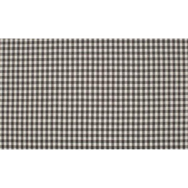 Donkergrijs wit boerenbont - 10m katoen op rol - Kleine ruit