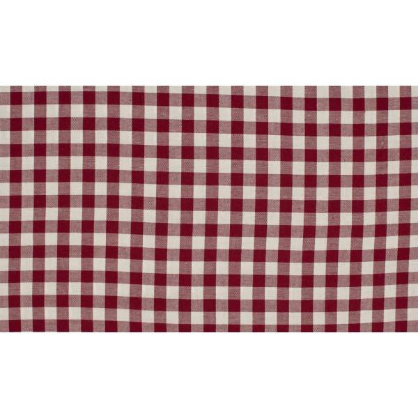 Outlet stoffen -Bordeaux Rood wit geruit katoen