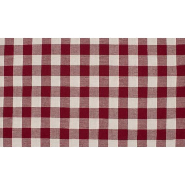 Bordeaux rood wit geruit katoen  - 2.95 meter