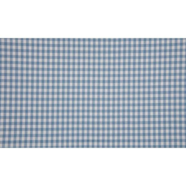 Outlet stoffen -Staalblauw wit geruit katoen