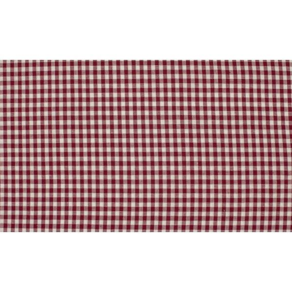 Bordeaux Rood wit geruit katoen - 1.1 meter