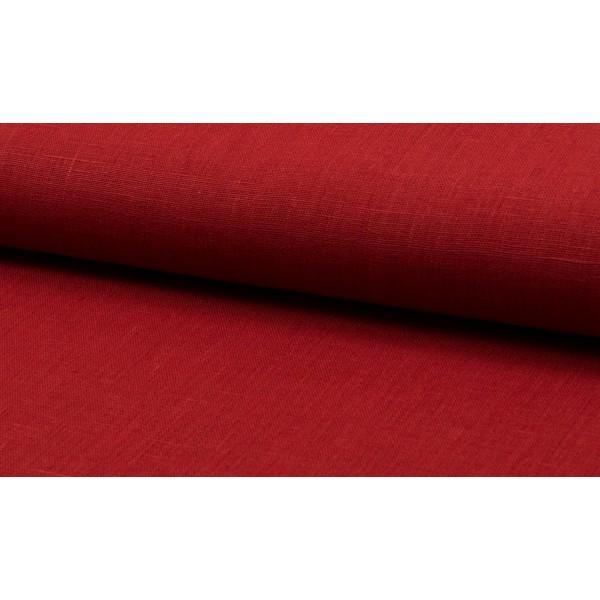 Linnen stof malboro rood -  Linnen grof op rol