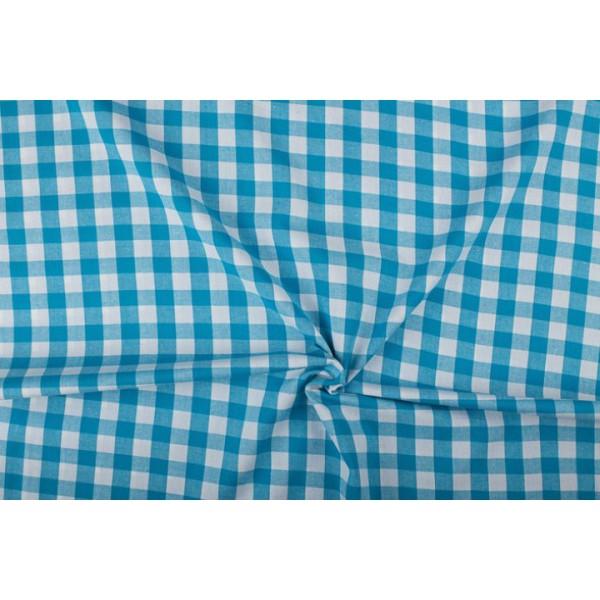 Waterblauw wit geruit katoen - Boerenbont met 18mm ruit