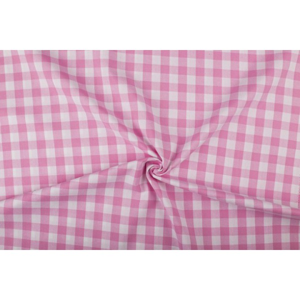 Roze wit geruit katoen - Boerenbont met 18mm ruit