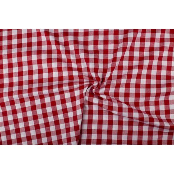 Rood wit geruit katoen - Boerenbont met 18mm ruit