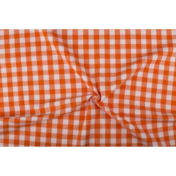 Oranje wit geruit katoen - Boerenbont met 18mm ruit