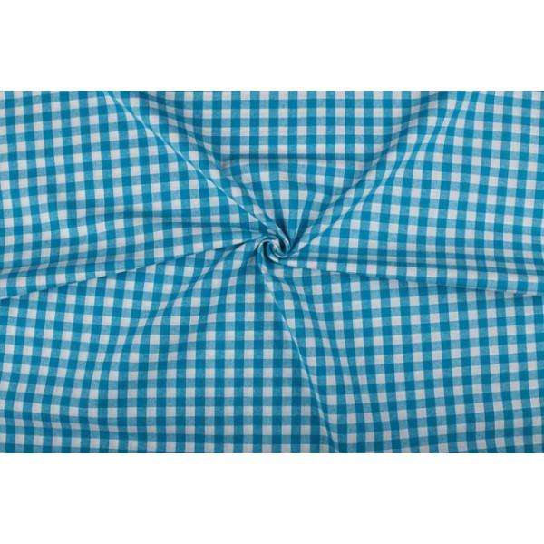 Waterblauw wit geruit katoen - Boerenbont met 10mm ruit