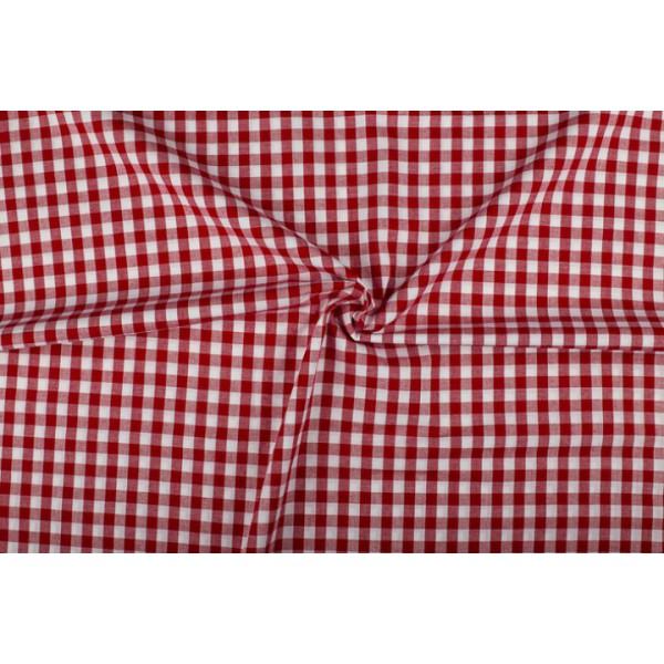 Rood wit geruit katoen - Boerenbont met 10mm ruit