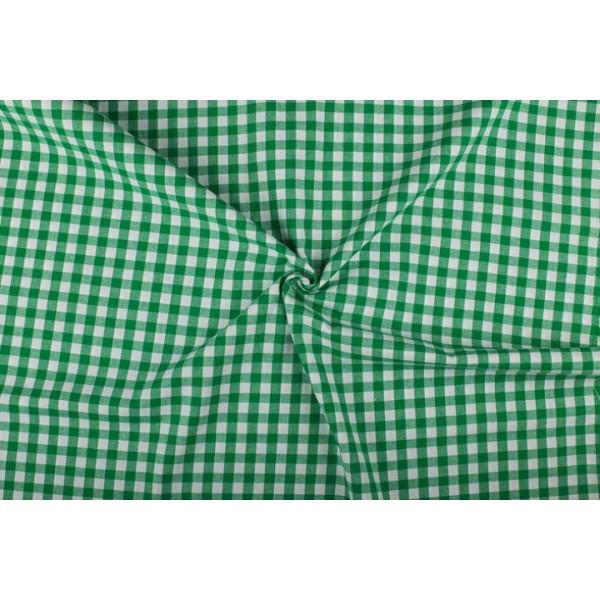 Groen wit geruit katoen - Boerenbont met 10mm ruit