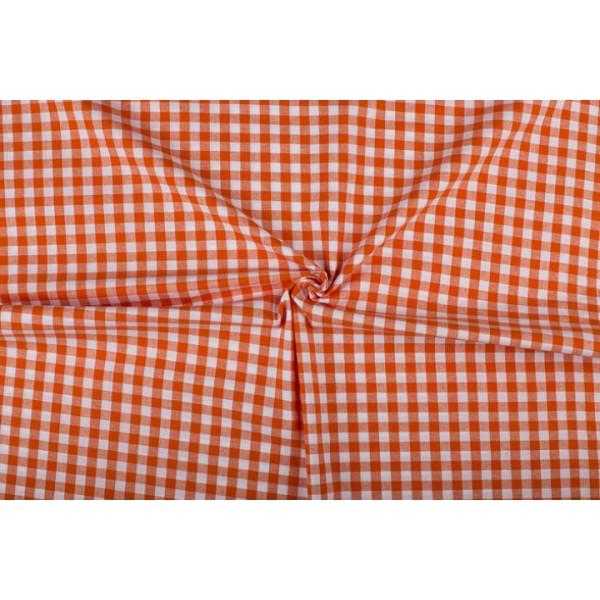 Oranje wit geruit katoen - Boerenbont met 10mm ruit
