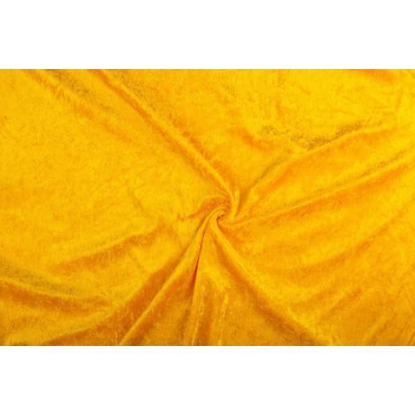 Velour de pannes okergeel - 45m stof op rol