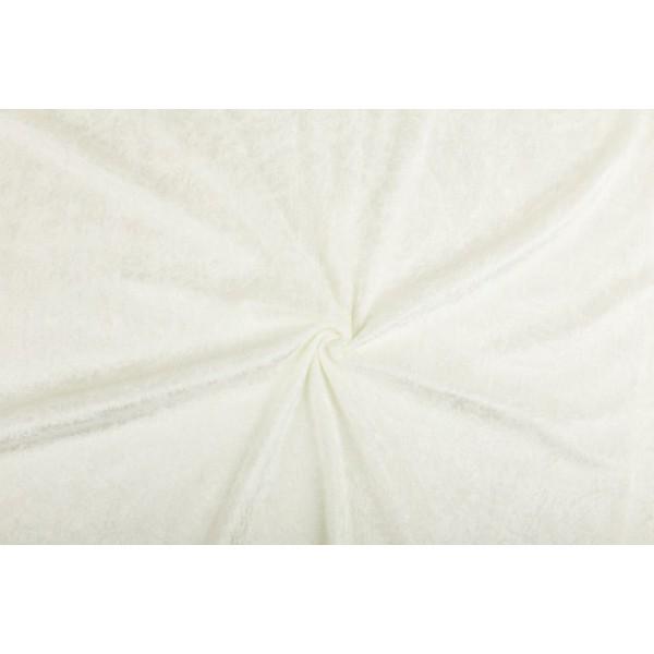 Velour de pannes gebroken wit - 45m stof op rol