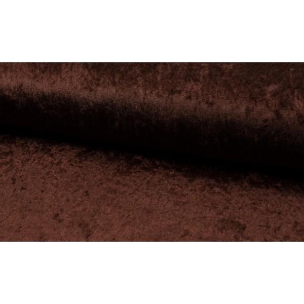 Velour de pannes donkerbruin - Stof op rol
