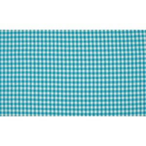 Oceaanblauw wit boerenbont - 10m katoen op rol - Kleine ruit