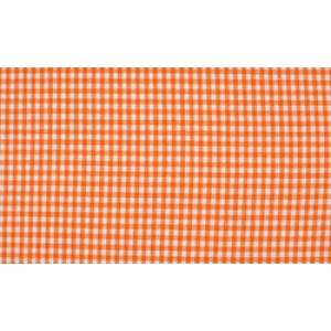 Oranje wit boerenbont - 10m katoen op rol - Kleine ruit