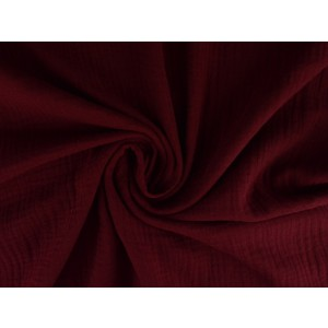 Mousseline stof bordeaux rood - Katoenen stof op rol