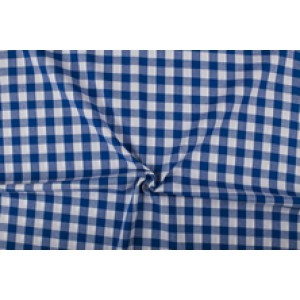 Blauw wit geruit katoen - Boerenbont met 18mm ruit
