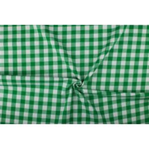Groen wit geruit katoen - Boerenbont met 18mm ruit