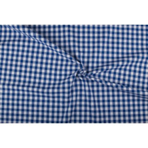 Blauw wit geruit katoen - Boerenbont met 10mm ruit