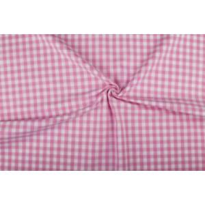 Roze wit geruit katoen - Boerenbont met 10mm ruit