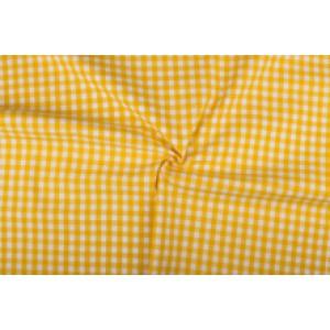 Geel wit geruit katoen - Boerenbont met 10mm ruit