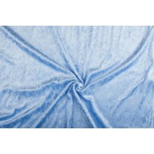 Velour de pannes lichtblauw - 45m stof op rol