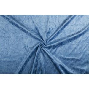 Velour de pannes blauw - 45m stof op rol