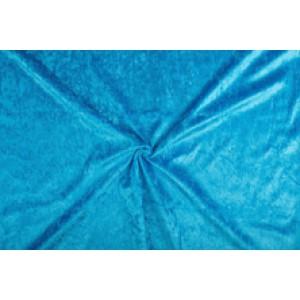 Velour de pannes waterblauw - 45m stof op rol