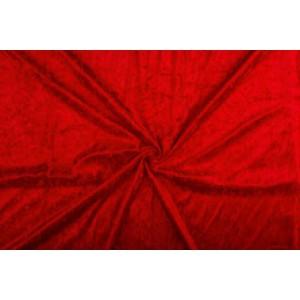 Velour de pannes rood - 45m stof op rol