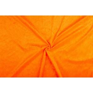 Velour de pannes oranje - 45m stof op rol