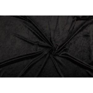 Velour de pannes zwart - 45m stof op rol