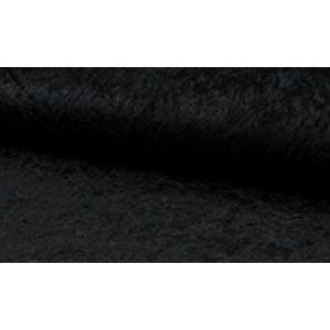 Velour de pannes zwart - Stof op rol